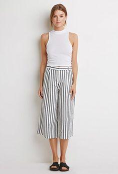 Contemporary Striped Linen-Blend Culottes   LOVE21 -  USD 13.99