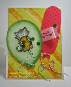 Caroline's Creations: Newton's Birthday Shaker Card - Newton's Nook Designs Inky Paws Challenge - citrus colors
