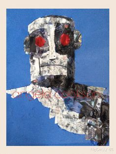 Newspaper collage of Ted Hughes' Iron Man, based on illustrations by Andrew Davidson. Using small pieces of option newspaper to describe light & shade...tonal values. Example for KS2 (year 5) art lesson.