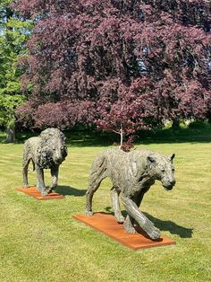 Both bronze, signed, dated & numbered Lion Walking, Wild Lion, Lion And Lioness, Sculptures, Lion Sculpture, Manor Farm, Farm Barn, He Is Able, Outdoor Settings
