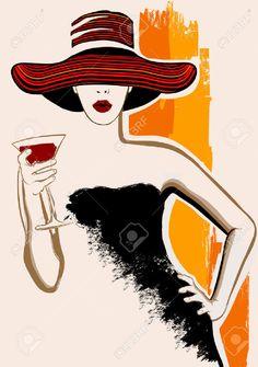 Büyük şapka olan kokteyl ile Pretty woman - vektör çizim