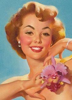 """1950/'s Elvgren Pin-Up Girl Poster /""""Puppy Love/"""" Basset Hound 24x30"""