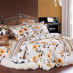 White Brown and Yellow Country Chic Sunflower and Multi-Stripes Print Full, Queen Size Bedding Sets