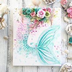 Painting mermaid tail beautiful 56 ideas for 2019 Mixed Media Canvas, Mixed Media Art, Mermaid Diy, Mermaid Wall Art, Mermaid Canvas, Watercolor Mermaid, Mermaid Style, Watercolor Ideas, Watercolor Painting