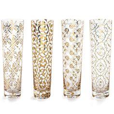 Kashmir Gold Glass Champagne Flutes - Set of Four