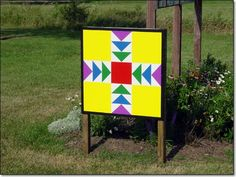 Barn quilt: with leftover paint and salvaged wood -- wonderful upcycled geometry project