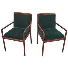 Ward Bennett Arm Chairs  Upholstered in the original emerald green mohair.