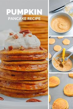 Pumpkin Pancake Recipe made with real pumpkin and seasonal spices. These pumpkin pancakes are perfect for fall with whipped cinnamon butter and maple syrup!