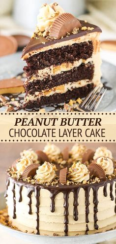 This Peanut Butter Chocolate Layer Cake recipe is made with layers of moist chocolate cake, peanut butter frosting and chopped Reese's peanut butter cups! It's rich, delicious and so fun! Peanut Butter Frosting, Peanut Butter Cups, Chocolate Peanut Butter, Chocolate Desserts, Chocolate Cake, Vegan Desserts, Delicious Desserts, Yummy Treats, Sweet Treats