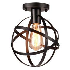 #Ebay #Semi #Flush #Mount #Ceiling #Light #Fixture #Black #Vintage #Metal #Cage #Chandelier #Globe #Unbranded #Vintage