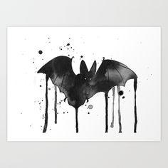 bat watercolor painting