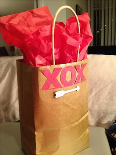Easy & handmade way to give any gift bag a special touch... this was for my husband for valentine's day