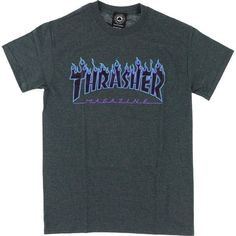 Thrasher Flame T-Shirt - X-LARGE Charcoal Heather ❤ liked on Polyvore featuring tops and t-shirts