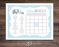 Instant Download Blue Elephant Baby Shower Games, Printable Bingo Cards for Baby Boy, Downloadable Elephant Theme Bingo Game #22C by Studio20Designs on Etsy (null)