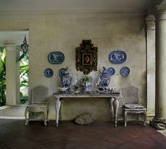 Display of blue and white porcelain.