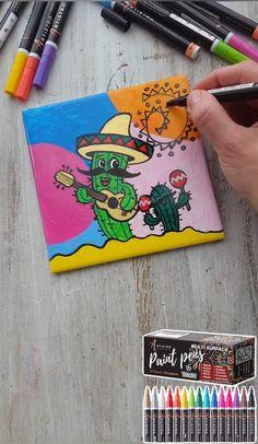 Paint Marker Pen, Acrylic Paint Pens, Marker Paper, Acrylic Painting On Paper, Paint Pens For Rocks, Disney Canvas Art, Tile Painting, Pinturas Disney, Sorority Canvas