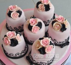 pink and black individual cakes