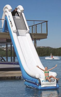 Transform your dock into a personal waterpark with the 15' Inflatable Dock Slide.