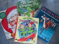 Vintage Christmas Books for Children Lot of 4 Golden by myfancies