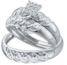 Men's Ladies 10K White Gold 0.09 Ct. Round Diamond Engagement Ring His & Her Bridal Trio Set