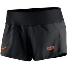 Nike Women's Oklahoma State Cowboys Gear Up Crew Shorts ($40) ❤ liked on Polyvore featuring activewear, activewear shorts, black, nike, logo sportswear, nike sportswear and nike activewear