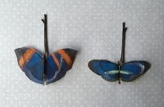 Soft - Handmade Bio Cotton and Silk Organza Blue and Orange Butterflies Hair Bobby Pin - 2 pieces by TheButterfliesShop on Etsy