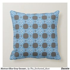 Abstract Blue Gray Geometric Art Pattern Pillow.  #bluehome #decoratingwithblue #bluedecor #throwpillows #homedecor #pillows #throwpillowsforbed #eleganthomes #pillowpattern