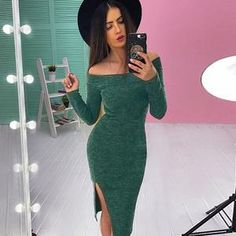 2018 Sexy Women Off Shoulder Casual Solid Long Sleeve Knee Length Dress Loose Dress