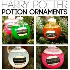 Harry Potter potion ornaments   http://lemonlimeadventures.com/diy-harry-potter-potions-ornaments