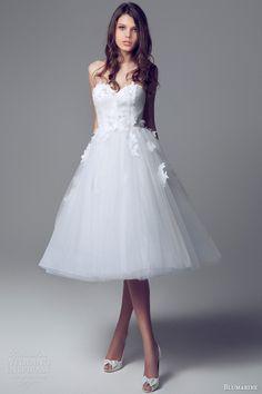 blumarine short wedding dresses 2014 strapless sweetheart wedding dress lace bodice applique tulle skirt