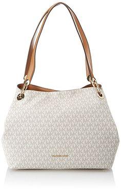 9bb43253a39c Michael Kors Raven Logo Shoulder Bag (Signature Vanilla) designer handbags  spring handbags handbag fashion