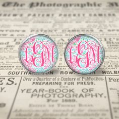 Lilly Pulitzer Inspired  Monogram Glass Earrings by LMGjewelry, $12.00