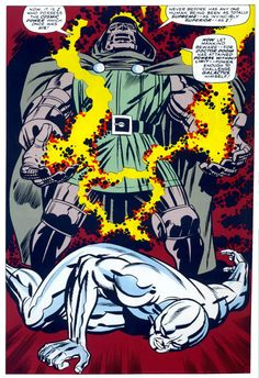 """Dr. Doom by Jack Kirby - """"Now, it is I who possess the cosmic powedr which once was his! Never before has any one human being been as totally supreme... As invincibly superior... As I! Now let mankind beware... For Doctor Doom has attained powers without limit... Power enough to challenge Galactus himself!"""""""