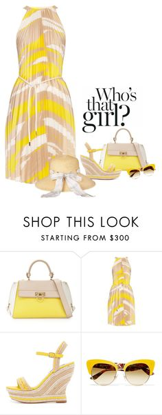 """Yellow Summer"" by www-haute-hot-trends-com ❤ liked on Polyvore featuring Salvatore Ferragamo, MaxMara, Alice + Olivia, Dolce&Gabbana, Barbour, Summer, yellow, dress, sandals and hat"