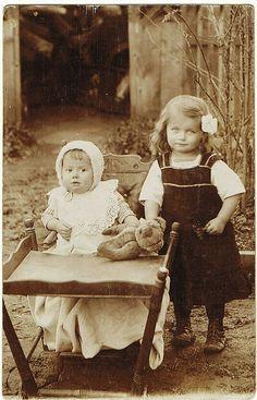 """As long as she doesn't touch my bear."" ""Don't be ridiculous. I'm not touching your silly bear. Vintage Children Photos, Vintage Pictures, Old Pictures, Vintage Images, Vintage Abbildungen, Vintage Girls, Vintage Postcards, Vintage Illustration, Old Time Photos"
