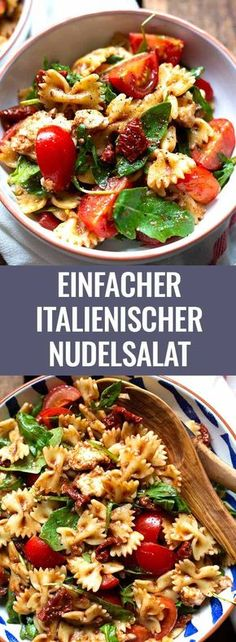 Einfacher italienischer Nudelsalat mit Rucola, getrockneten Tomaten und Mozzarel… Simple Italian pasta salad with arugula, dried tomatoes and mozzarella. Lunches And Dinners, Mozzarella Salat, Cooking Tomatoes, Pasta Salad Italian, Feta Pasta, Pasta Salad Recipes, Recipe Pasta, Dried Tomatoes, Food Dinners