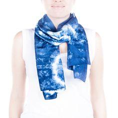 Tie Dye Indigo silk scarf / throw back to the by CeliaEtcetera