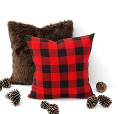 16x16 Brown Faux Fur and Plaid Pillow CoverBlack and Red Buffalo PlaidChristmas PillowWinter DecorFallChristmas DecorCabin Decor