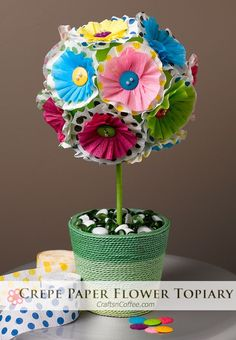 Crepe Paper Flower Topiary -- easy DIY! Perfect for parties. CraftsnCoffee.com.