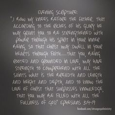 Evening Scripture: I bow my knees before the Father.. that according to the riches of his glory he may grant you to be strengthened with power through his Spirit in your inner being, so that Christ may dwell in your hearts through faith.. #eveningscripture #scripturequote #biblequote #instabible #instaquote #quote #seekgod #godsword #godislove #gospel #jesus #jesussaves #teamjesus #LHBK #youthministry #preach #testify #pray #faith #love