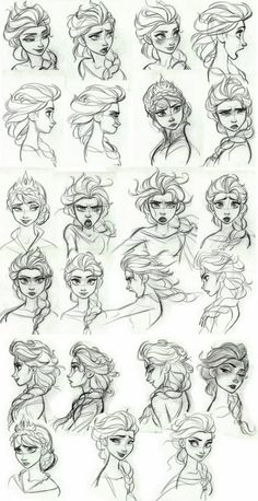 concept art - Elsa Frozen concept art - Elsa Look at the range of emotions! This is why Disney is the best!Frozen concept art - Elsa Look at the range of emotions! This is why Disney is the best! Disney Sketches, Disney Drawings, Art Sketches, Art Drawings, Drawing Faces, Drawing Disney, Frozen Drawings, Elsa Drawing, Drawing Hair