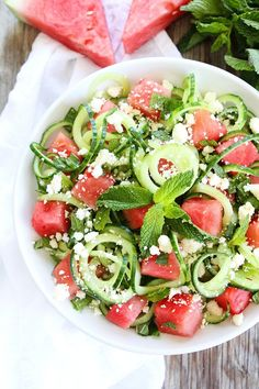 """I've seen watermelon, mint, feta salads, but this recipe is different! Thanks to the addition of cucumber """"noodles,"""" (or even zoodles would work) it just might be the most refreshing salad you'll eat for any of your meals this summer. Great for dinner or lunch!"""