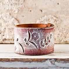 Wristband Cuff Bracelet Hand Tooled Leather by rainwheel, $48.00