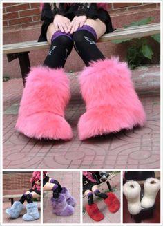 Fashion Eskimo Women Winter Big Fluffy Boots Sheep Fur Luxury Barbie Pink Boots