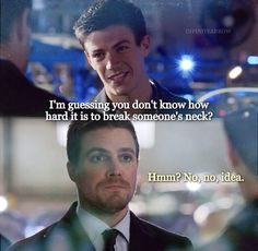 Flash to Oliver Queen before he knew he was the Green Arrow (he totally knows because he's done tones of times before) Arrow Cw, Arrow Oliver, Team Arrow, Superhero Shows, Superhero Memes, Supergirl Dc, Supergirl And Flash, The Flash, Dc Memes