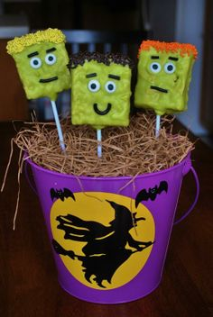 Frankenstein Rice Krispie Treat Pops | Rolling Sin...Sweets After Dark
