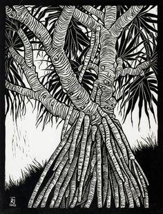Pandanus x cm Edition of 50 Linocut on handmade Japanese paper Linocut Prints, Art Prints, Block Prints, Gravure Photo, Linoprint, Botanical Drawings, Wood Engraving, Australian Artists, Woodblock Print