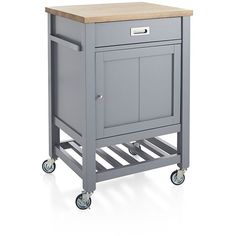 Crate & Barrel Sheridan Grey Kitchen Cart ($399) ❤ liked on Polyvore featuring home, kitchen & dining, crate and barrel kitchen cart, crate and barrel cart, wheeled cart, wheeled storage cart and kitchen storage carts