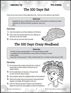 Download the Free 100th Day of School Hat Activity Sample Page from Teacher Created Resources