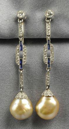 Art Deco Platinum Natural Pearl Sapphire and Diamond Earpendants. Art Deco Platinum Natural Pearl Sapphire and Diamond Earpendants. Art Deco Earrings, Art Deco Jewelry, Pearl Jewelry, Antique Jewelry, Vintage Jewelry, Fine Jewelry, Jewelry Design, Pearl Earrings, Diamond Earrings